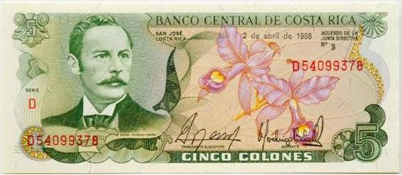 A Costa Rican Banknote For Five Colones It Shows Rafael Yglesia Castro President Of Rica From 1894 To 1902 And Guaria Morada Orchid S