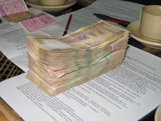 Payment For Nepal Trek In Rupees Stack Of Money