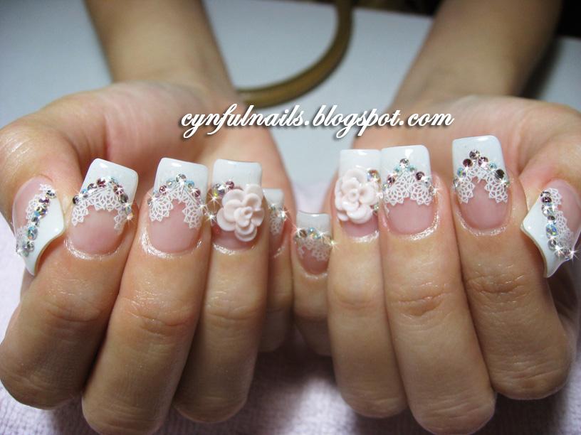 Cynful Nails: Bridal french + lace nails.