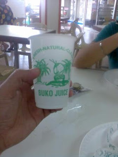 This is what I used to drink in UP. A refreshing plastic cup of buko juice (or so it says on the cup. May just be murky white water with sugar.)