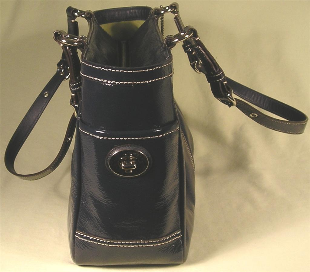 Coach Navy Patent Leather Tote Purse 13761