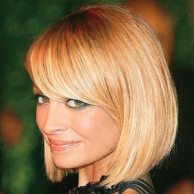 Nicole richie bob with sexy side swept bangs