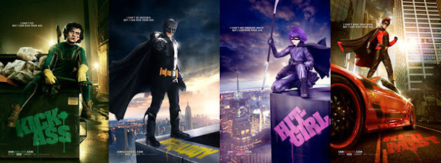 Kick-Ass, Big Daddy, Hit Girl e Red Mist