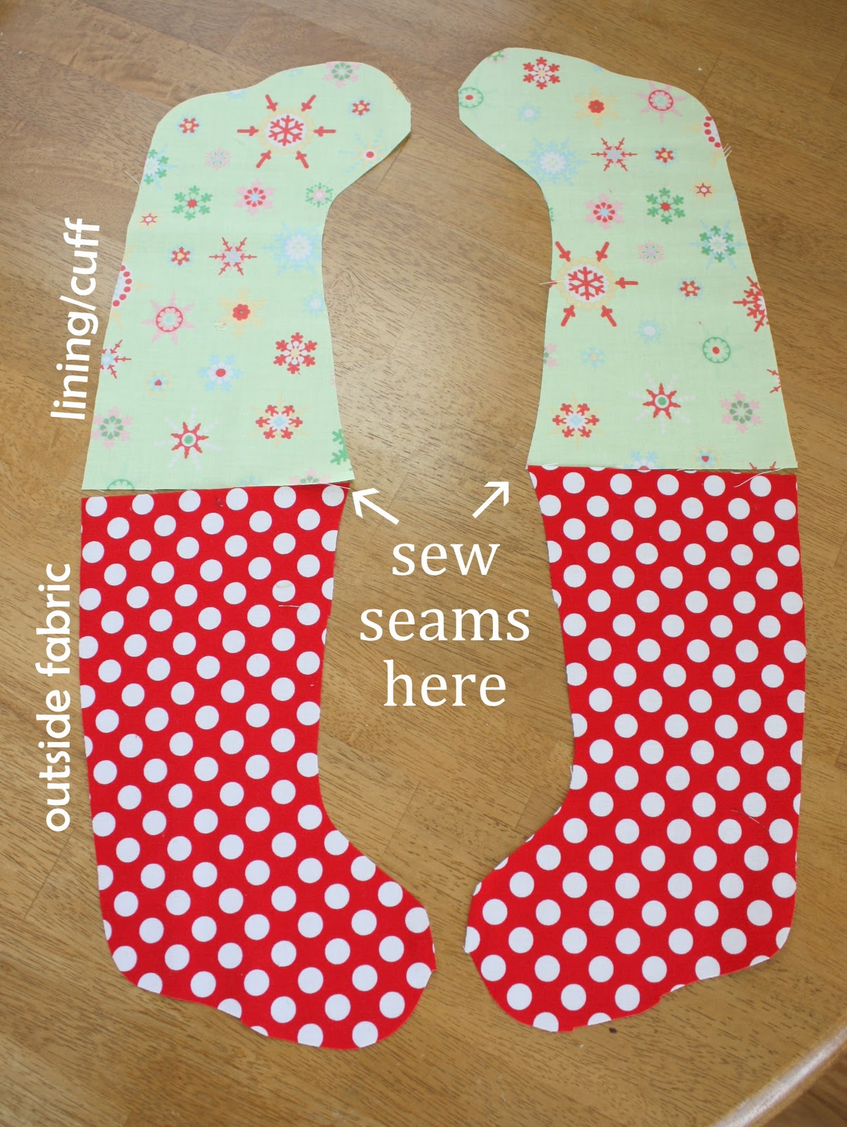 Easy diy stocking tutorial now pair up one outside fabric with one liningcuff fabric with the toes pointing the same direction like this see picture above jeuxipadfo Gallery