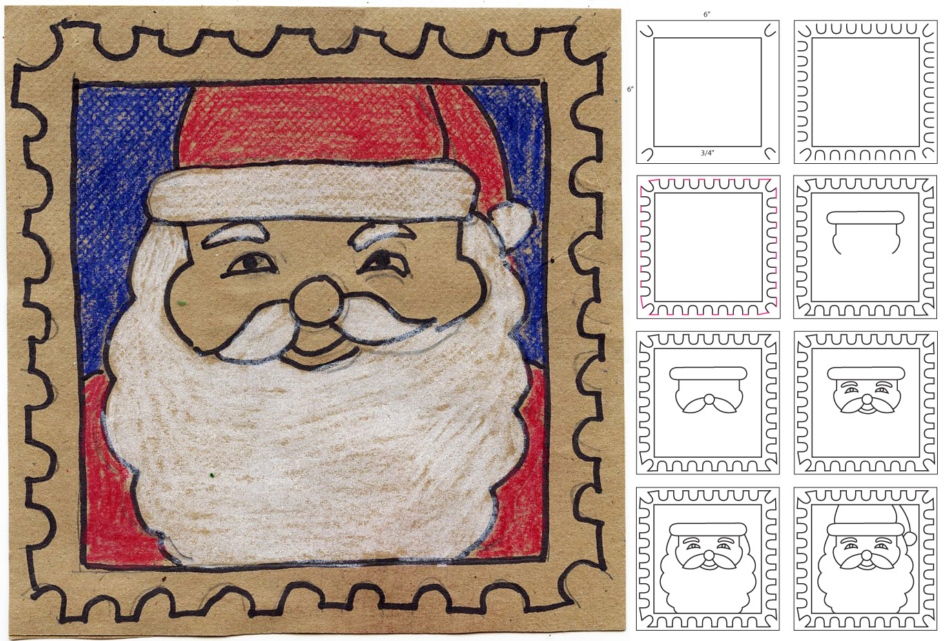 How To Draw a Santa Stamp - Art Projects for Kids