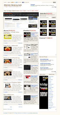 free blogger template magazine style Press Magajah blogger template with automatic image slidshow