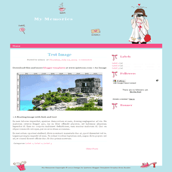 free My Memories blogger template for personal blog template with cute background