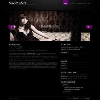 Glamour blogger template with image slideshow template blog for portfolio template blog