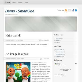 SmartOne blogger template convert from wordpress theme to blogger. minimalist blogger template