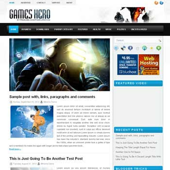 Games Hero blogger template. pagination for blogger ready. magazine style template blog. image slider template blog. blogger template games template blogspot
