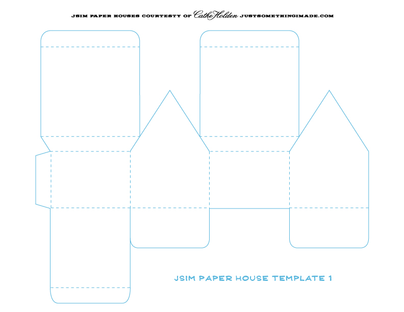 cardboard house printable template -- she covers hers with fabric - line card template