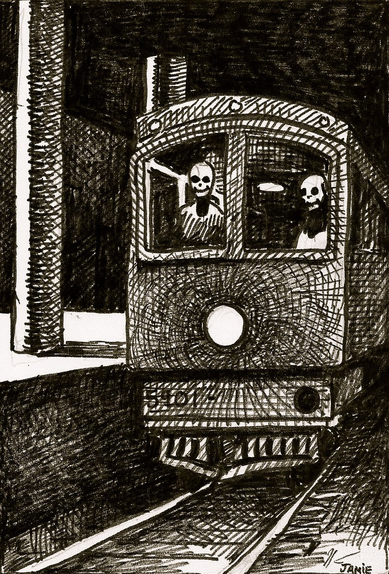 William Jameson Art  Skeleton Train