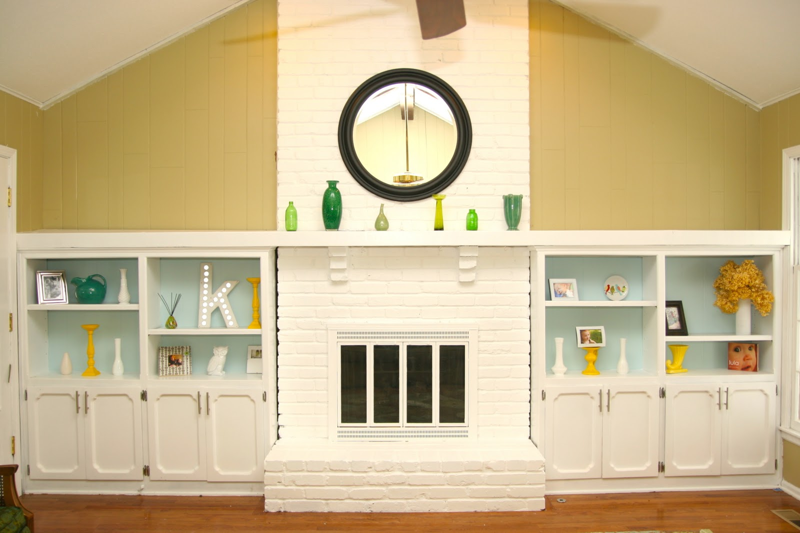 Remodelaholic | Dramatic Results Of a White Painted Brick Fireplace