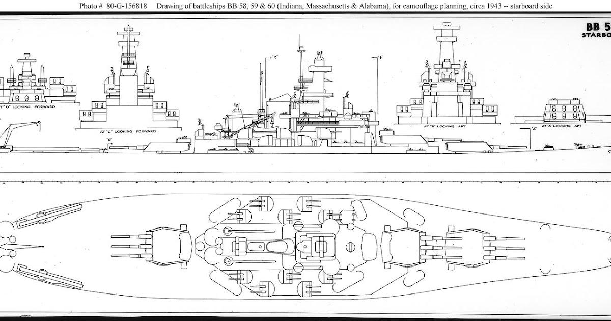 navy ship: uss alabama battleship blueprint