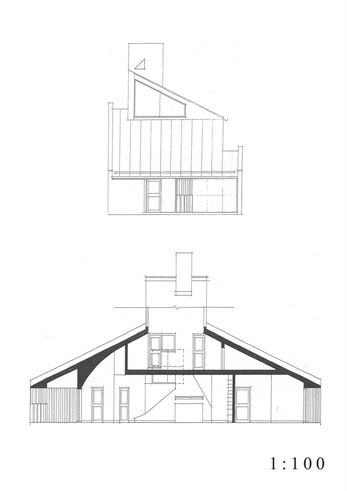 Scale100_A4_04 Vanna Venturi House Plan Section Elevation on fisher house elevation, vanna venturi interior, kaufmann house elevation, eames house elevation, vanna venturi sections dimensions, tugendhat house elevation,