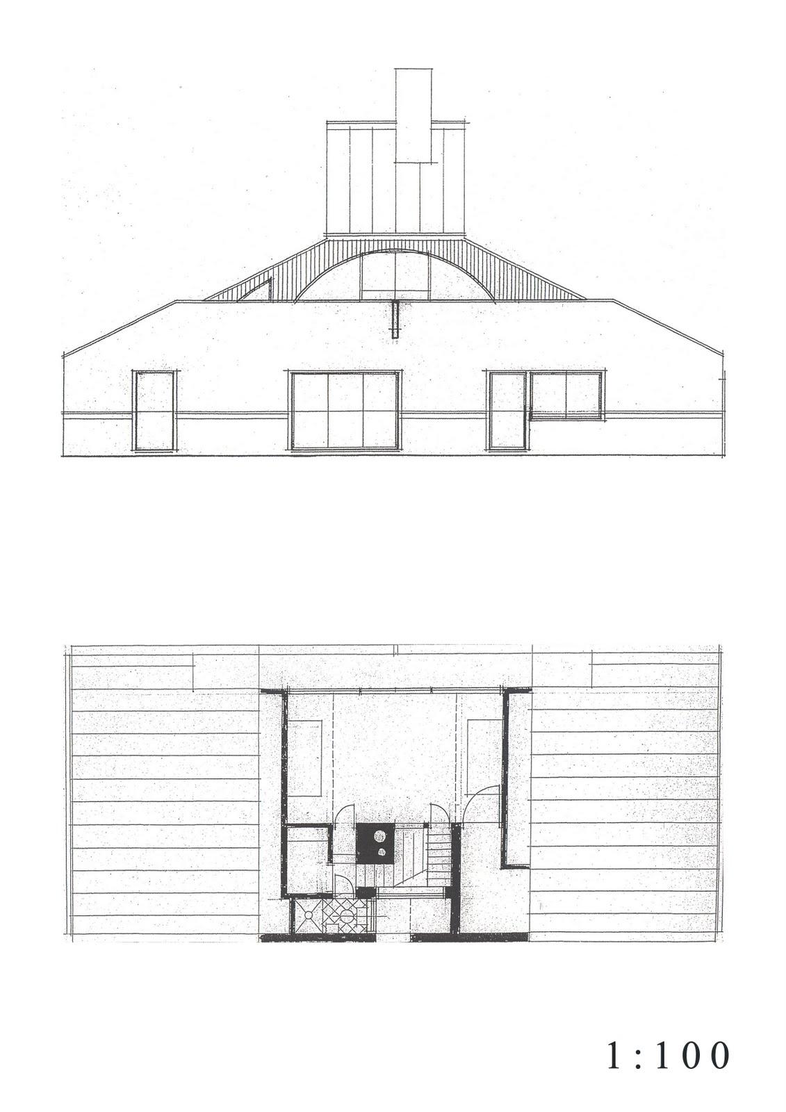 Scale100_A4_02 Vanna Venturi House Plan Section Elevation on fisher house elevation, vanna venturi interior, kaufmann house elevation, eames house elevation, vanna venturi sections dimensions, tugendhat house elevation,