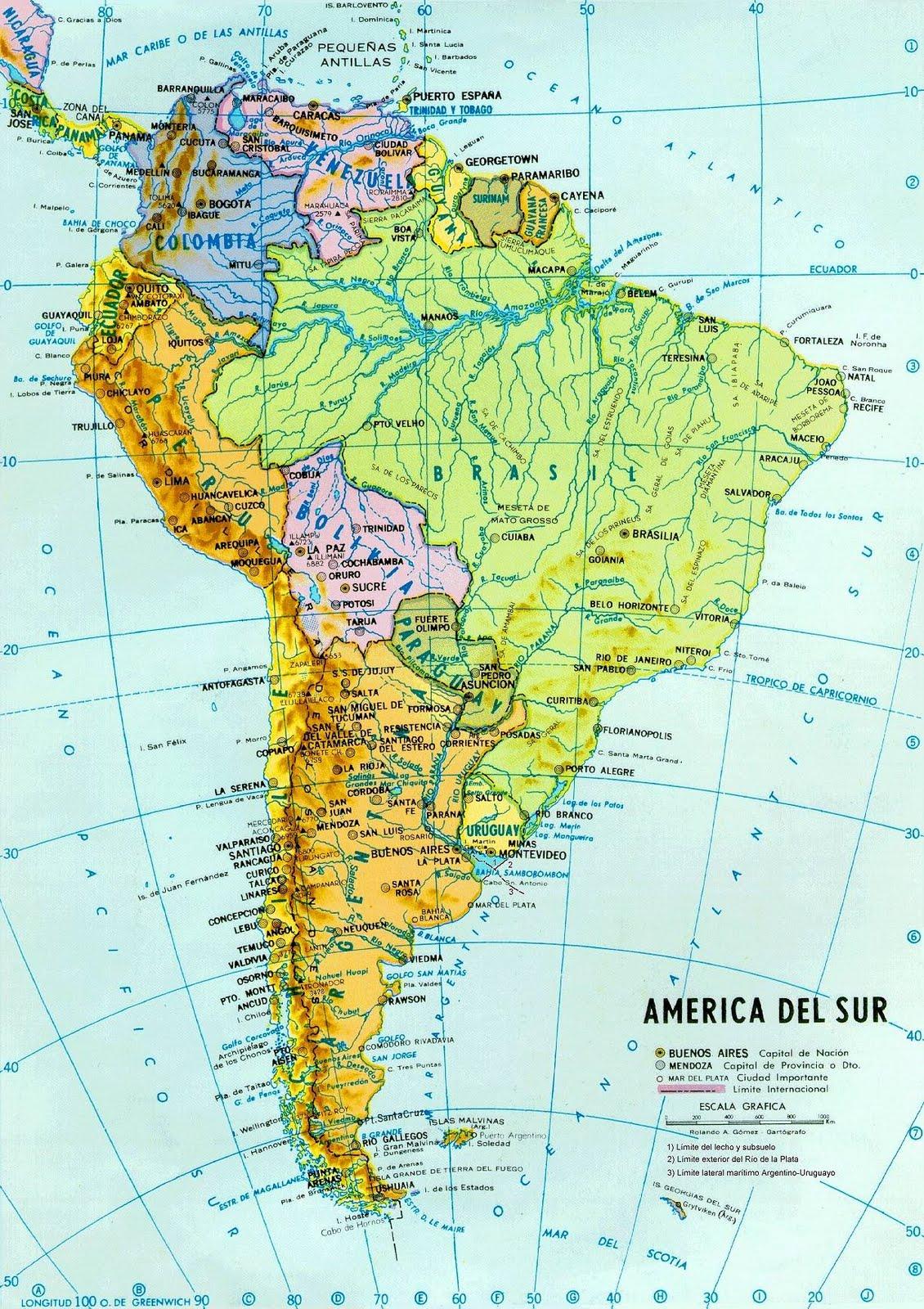 Mapa América Del Sur.Historia Y Geografia Mapas America Del Sur Peru Y Tacna