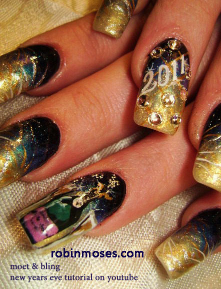 Nail Art By Robin Moses New Year 2012 New Year Nail Art New