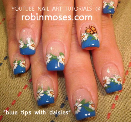Nail Art Designs Blue Tips Hession Hairdressing
