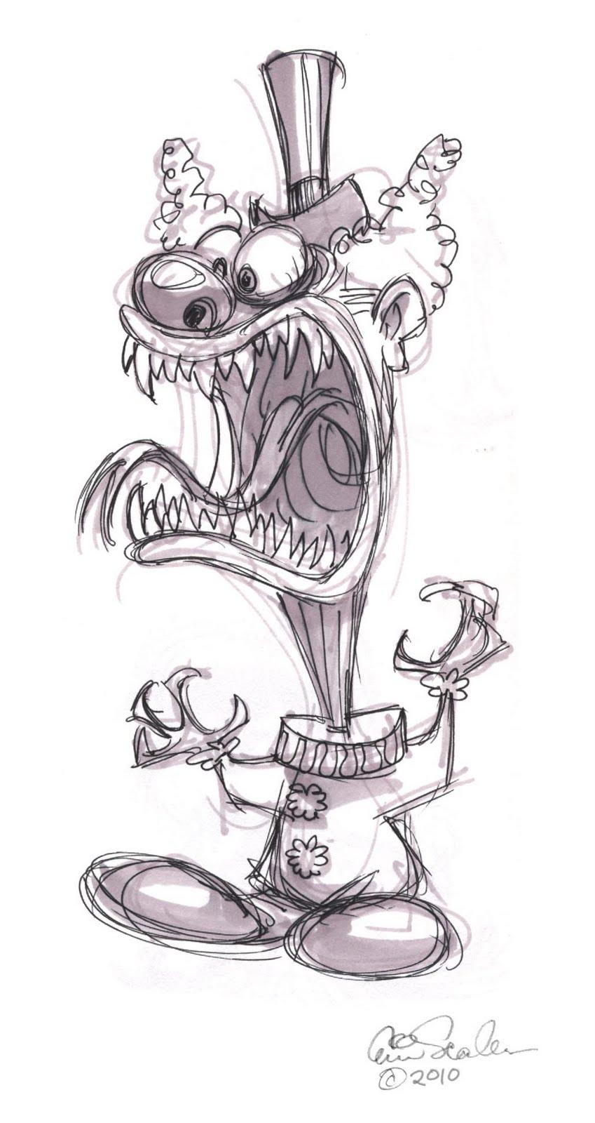 Scary Clown Drawing: The Ol' Sketchbook: June 2010