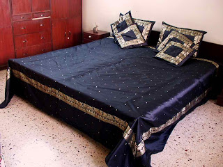 beautiful bedsheet made from sari