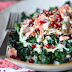 Blanched Kale Salad with Pomegranate and Green Apple Dressing