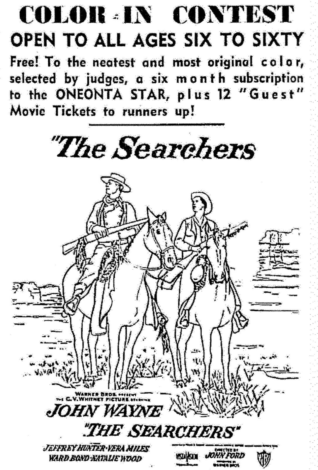 Mostly Paper Dolls: THE SEARCHERS Movie Coloring Contest, 1956