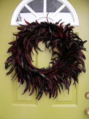 front stoop for christmas, feather wreath