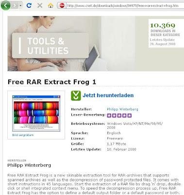 Philipp Winterberg (EN): CNet de recommends Free RAR Extract