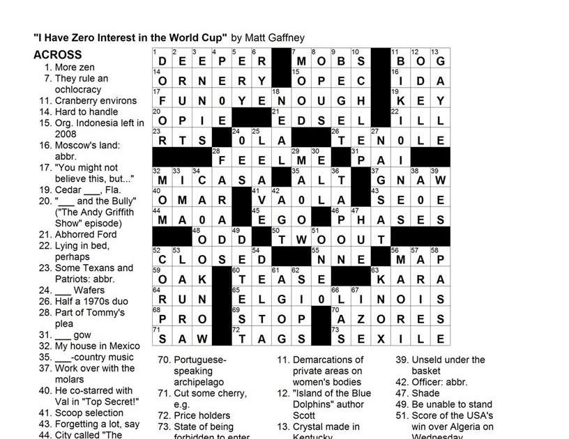 Matt Gaffney's Weekly Crossword Contest: MGWCC #109