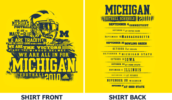2010 student michigan football t-shirt design