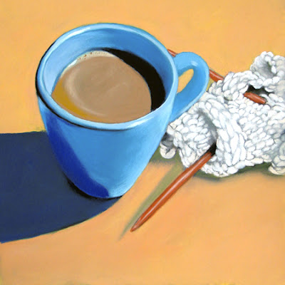 coffee and knitting daily pastel painting