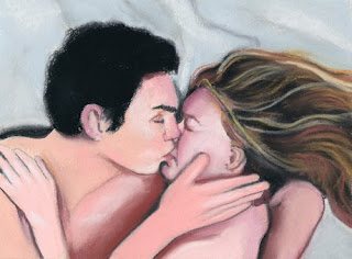 the kiss daily pastel painting