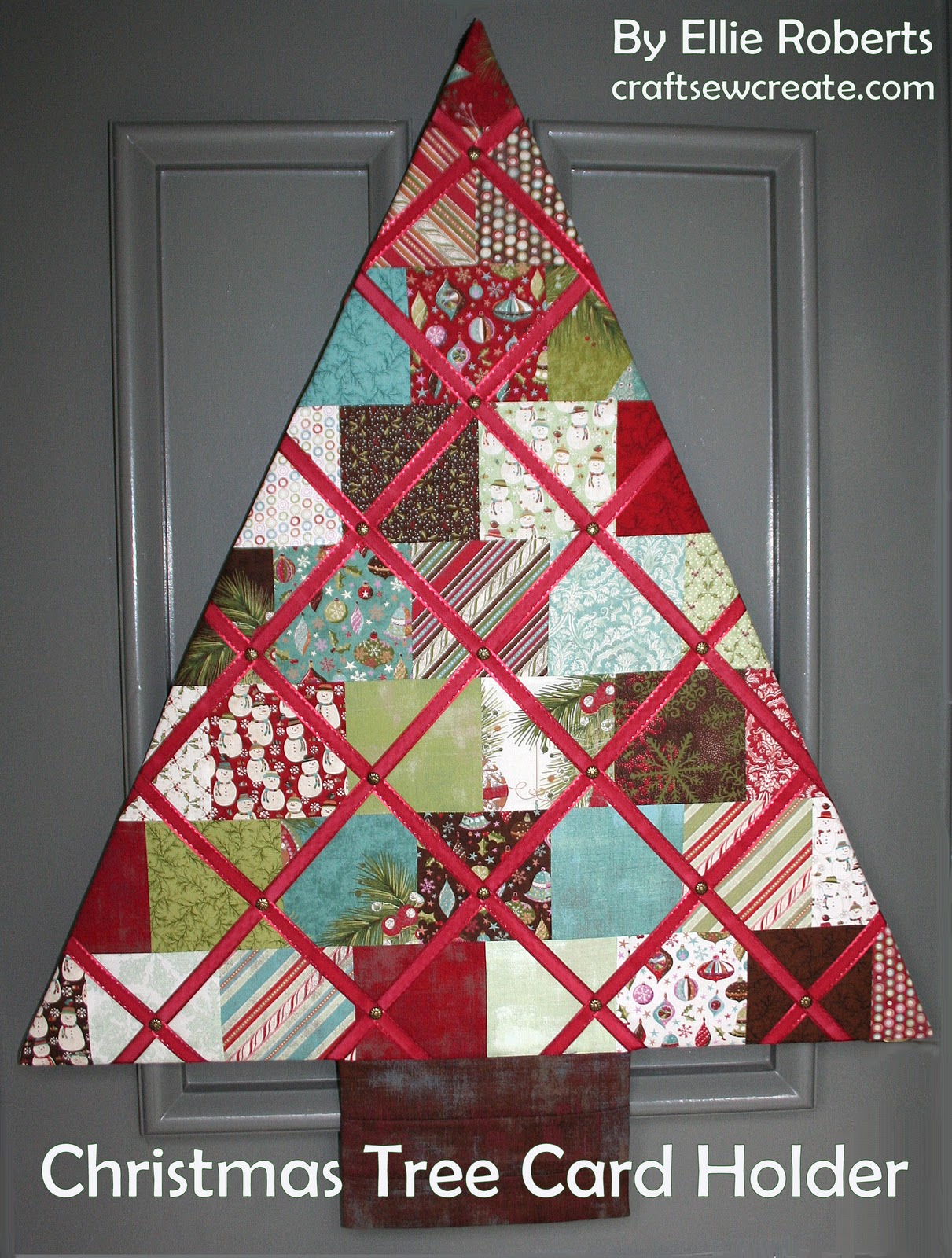 Craft sew create christmas tree card holder an anniversary - Christmas card wall holder ...