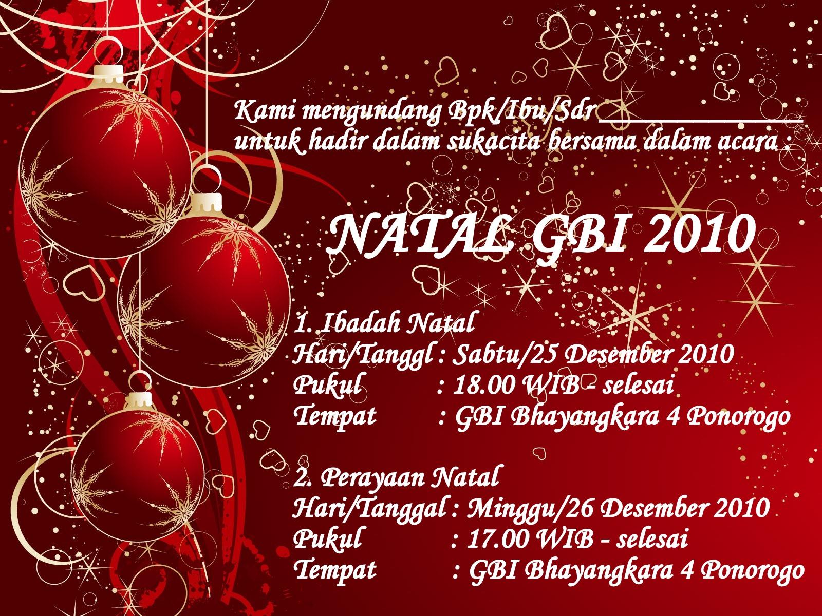 Gereja Bethel Indonesia Ponorogo Acara Natal 2010 GBI