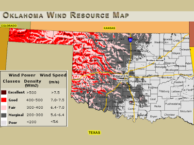 Oklahoma Wind Map.Newenergynews More Oklahoma Gets More Big Wind