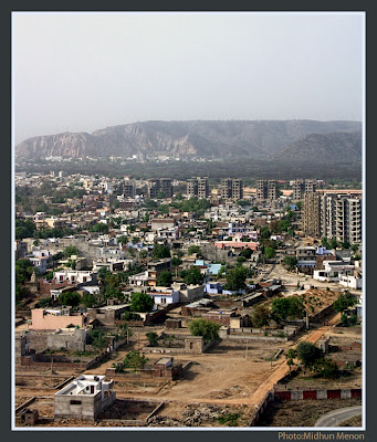 arial view of jaipur pink city through aircraft window