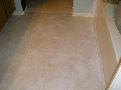 diy gal bathroom linoleum tile completed. Black Bedroom Furniture Sets. Home Design Ideas