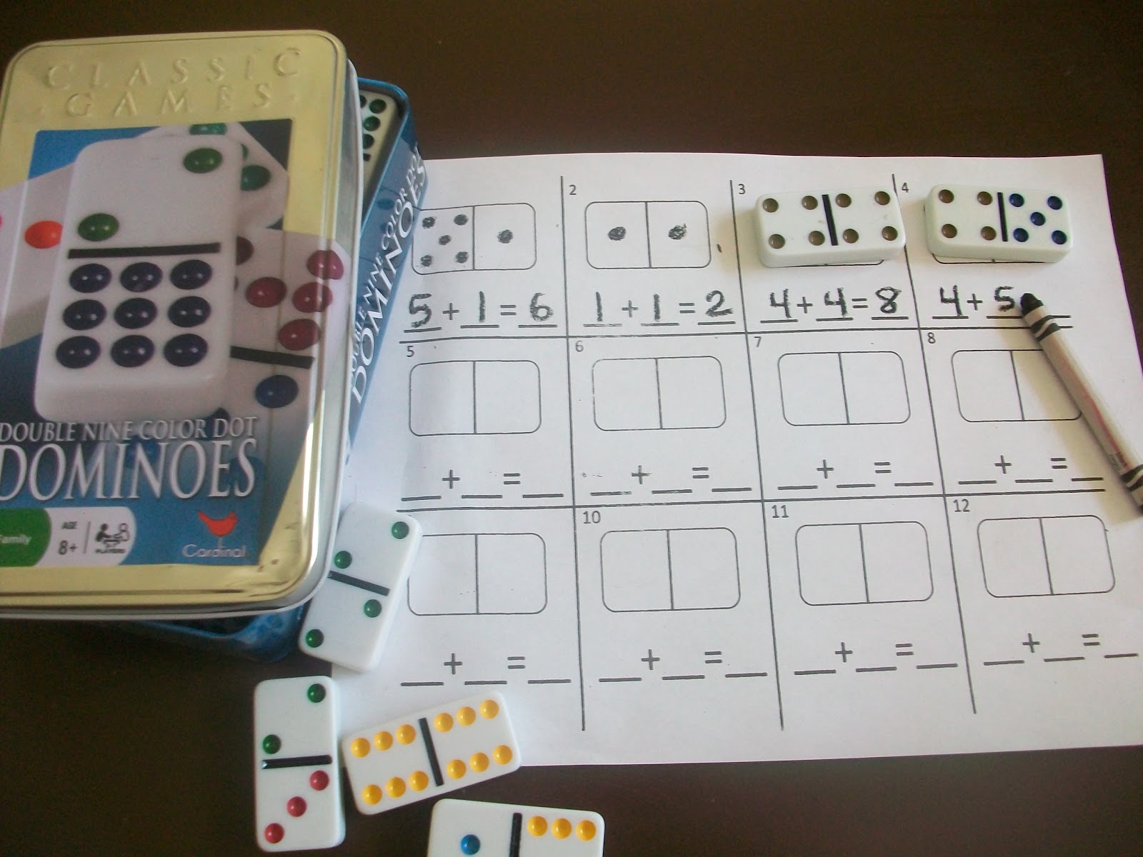 First Grade School Box Domino Addition