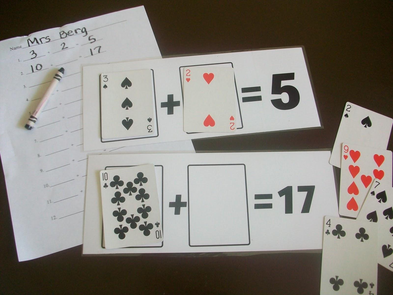 First Grade School Box Math Playing Card Mats