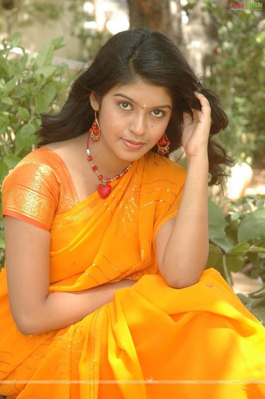 Prathista In Orange Saree