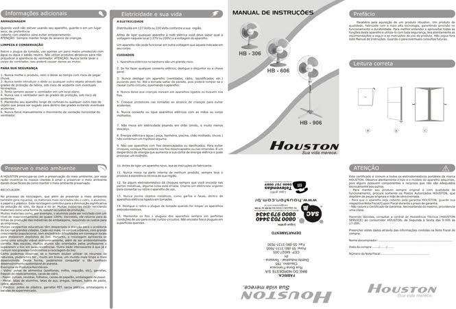 Manuais linha de Ventiladores Houston