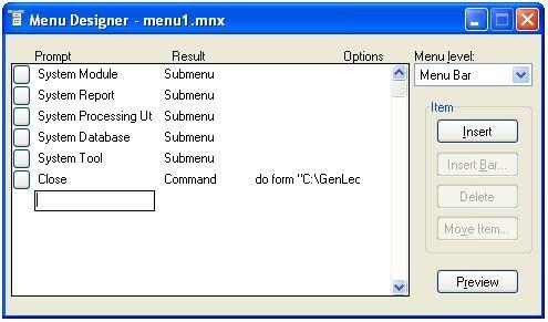 Microsoft Visual Foxpro: Menu Designer in FoxPro