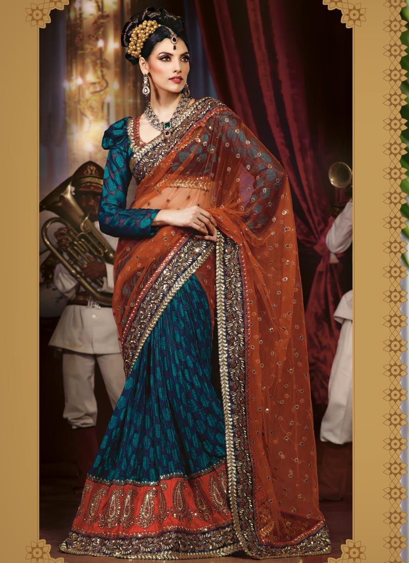 fashion india  bridal lehenga style saree