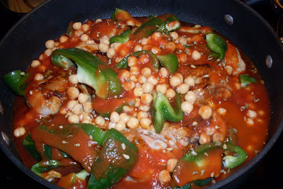 Serendipity Creole Chicken, with peppers and garbanzo beans.