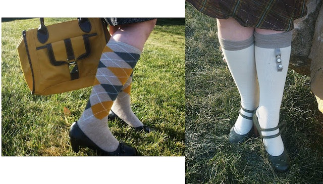 vintage style argyle and button socks with mustard handbag from Target via Va-Voom Vintage