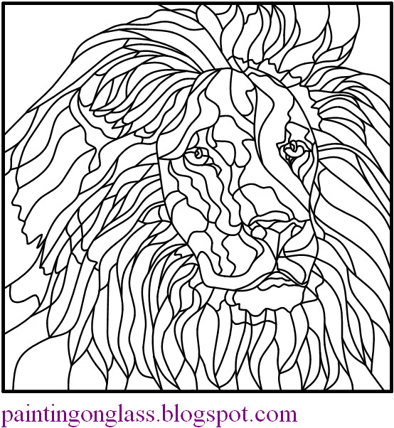 free stained glass pattern lion painting on glass. Black Bedroom Furniture Sets. Home Design Ideas