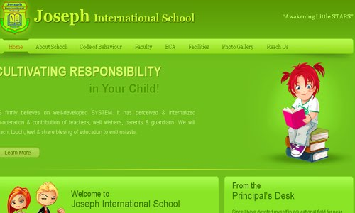 Joseph International School kid website design