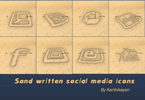 23 Sand Written Social Media Icons