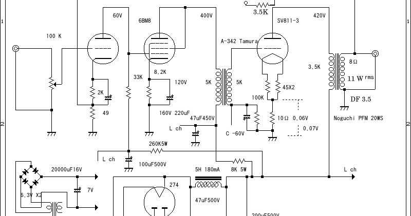 Wiring Schematic Diagram: Tube 6BM8 + SV811-3 Single Ended